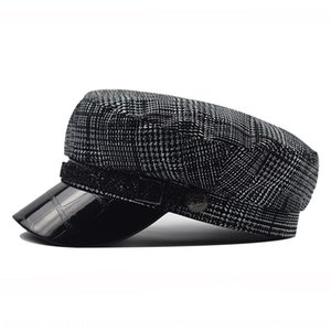 Lace and beret beret hatOctagonal winter hatleather octagonal hat crocodile leathercap autumn pu all-match outdoor wig cap H94Kv