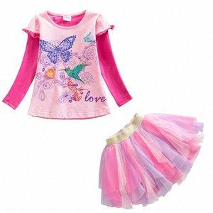 Conjuntos VIKITA Crianças Vestuário para meninas de algodão manga comprida Tops + tutu Suits saia 2pcs Crianças Primavera Outono Toddlers Vestuário h4Bz #