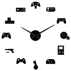 NHBR-Game Controller Video Diy Giant Wall Clock Game Joysticks Stickers Gamer Wall Art Video Gaming Signs Boy Bedroom Game Room