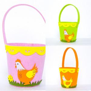 2021 Easter Cock Printed Basket Colorful Egg Cartoon Non-woven Tote Bag Lovely New Year Gifts Egg Candy Barrel Bucket Handbag GG12003