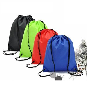 Переносная Solid Color Drawstring Сумка Мальчики Девочка Одежда Обувь сумка школа Замороженного спортзал спорт PE танец Рюкзаки