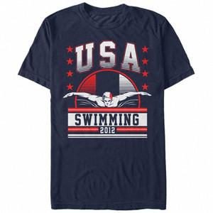 Verlorene Gods USA Swimminging 2012 Mens-Grafik-T-Shirt nuierlich #