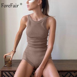 Forefair Sexy Women BodySuit Ribbed Knit sin mangas O Cuello Streetwear Rampers Slim Bodycon Body Body Y200701