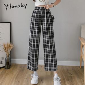 vendimia Syiwidii tela escocesa de alta elástico de la cintura más tamaño pantalones de pierna ancha ocasional de los pantalones femeninos de Corea las mujeres