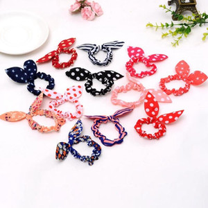 Rabbit Ears Headband Polka Dot Bow Hairband Elastic Girl Ring Scrunchy Hair Bands Kids Ponytail Holder Hair Accessories