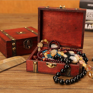 Scatola di gioielli in legno vintage box makeup box anello anello collana rettangolare gioielli in legno scatola di fascia alta sposa sposa gioielli stoccaggio zyy546