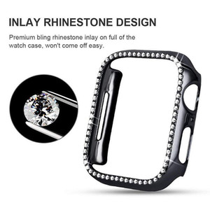 Diamond Watch Cover Luxury Bling Crystal PC Cover for Apple Watch Case Series 4 3 2 1 Case 44mm 40mm 42mm 38mm Band