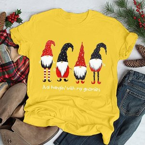 Just Hahgin With My Gnomies Letter Print Christmas Women T shirt Cute Santa Claus Graphic T shirt Harajuku Vintage Xmas Shirt