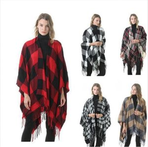 Fashion Classic Plaid Poncho Tassel Lattice Cape Grid Blankets Scarf Autumn Winter Thick Capes Wrap Pashmina Poncho LJJP675
