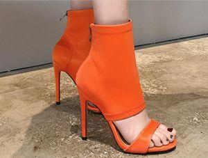 US4-11 Women's Stretchy Cloth Peep Toe Cut Out Stilettos High Heel Ankle Boots Sandals Candy Colors Shoes Roman Plus Size M09