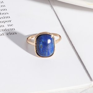 Wholesale 10 Pcs Gold Plated Rectangle Shape Amethyst Stone Finger Ring for Gift Lapis Lazuli Jewelry