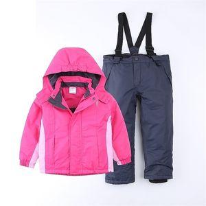 Export Europe Girl warm Ski suit snow Jacket and ski pants waterproof Overalls Baby padded Autumn Winter windproof EU 116 122 201106