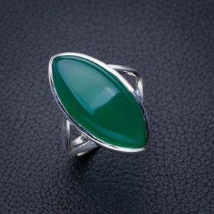 StarGems Natürliche Chrysopras Handgemachte 925 Sterling Silber Ring 6.5 E2785 W1231