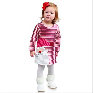 1-6Y Christmas Girls Dress Toddler Kid Baby Girls Xmas Clothes Long Sleeve Striped Santa Tutu Party Dresses For Girls