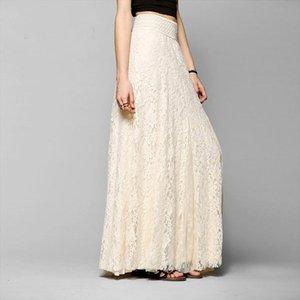 White Long Lace Knee Length Skirt Women Summer Beach Wedding Skirt Wedding Look Pleated Tulle Skirts Female School