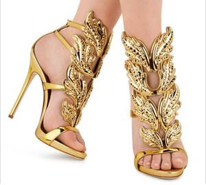 Venda quente metal dourado Asas Folha Strappy Vestido Sandália Prata Gladiador Red 11 centímetros sapatos de salto alto Mulheres Metallic Winged Sandals