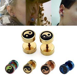 Barbell Stud Earring Fake Ear Plugs and Tunnels Stainless Steel Earrings Gauge Piercing for Men Body Jewelry Gifts