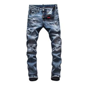 2021 Famous Mens Jeans Mens Ripped Skinny Slim Elastic Denim Fit Biker Jeans Fashion Fit Zipper Ripped Pants Casual Hip Hop men jeans