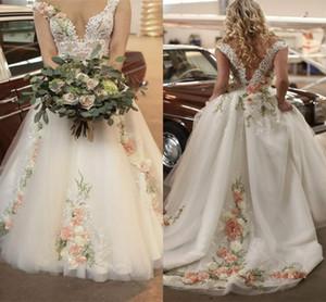 2021 conte de fées robes de mariée une ligne colorée de fleurs de fleurs de dentelle printemps jardin romandres nuptières balayer le train d'épaule vestidos al8327