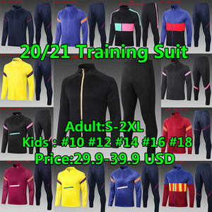 FC Barcelona Trainingsanzüge Pullover Set Winterjacke Fussball Jersey 2020 2021 Messi Ansu Fati Männer Kinder Kits Survetement Trainingsanzug Training Football Shirt