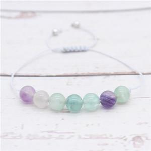 Bracciale Pietra 8m Fluorite per le donne String mano Brace Bangles Fai da te braccialetto MBR180231 regolabile