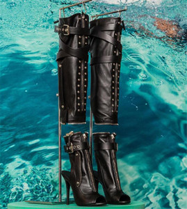 New Women Fashion Open Toe Black Leather Zipper Design Knee High Boots Removable Long High Heel Motorcycle Boots Buckles Boots
