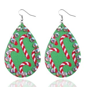 26 Patterns 2pcs Pair Faux Leather Earrings with Rhinestones for Women Unique Design Christams Teardrop Cut Out Printed Pendants ZZF2427