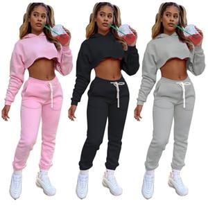 Las mujeres 2pcs de diseño Establece Otoño Invierno sudaderas Tops pantalones largos juegos de la ropa Solid pantalones piezas de color chándales Dos
