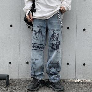 Vintage Washed Women Streetwear Harajuku Cartoon Anime Print Jeans Fashion Loose Denim Pants Female Trousers W1595