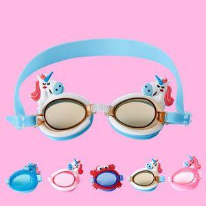 Cute Unicorn Shape Children Kids Silicone Transparent Swim Goggles Waterproof Eyewear Anti-fog Glasses for Pools Swimming