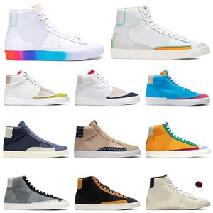 blazer mid 77 İyi Bir Oyun Var Blazer mid 77 vintage League of legends fluorescence City Pride Cool Grey Süet erkek bayan spor ayakkabı sneakers