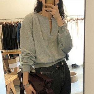 Womengaga Корея женская одежда 2021 осень свободно случайные новые моды письмо темперамент v-образным вырезом пуловер простая толстовка 6jji q0116