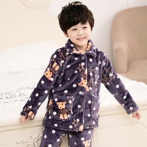 Pijama Infantil Inverno Kids Pijama Set Coral Flece Baby Boy Girl Printing Pajamas Детей Фланалевая Сорла Младенческая Пижамас Y200114