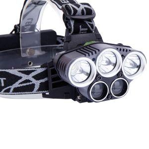 5LED 5000LM 3 Modes lumière blanche en alliage d'aluminium LED Lampe frontale tête noire Lampe torche Camping Zoom Head Light lampe de poche