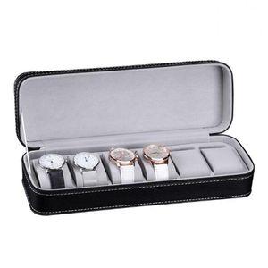Vigilanza di cuoio 6 Slot PU Box Organizzatore con la serratura o gioielli portatile Viaggi Zipper Caso Collector bagagli Palco Best Gift