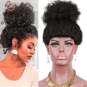 EEWIGS 천연 블랙 변태 곱슬 높은 포니 테일 가발 저렴한 아프리카의 합성 가발 높은 온도 금발 짧은 길이 곱슬 머리 가발 여성