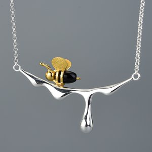 18K Gold Bee and Dripping Honey Pendant Necklace Real 925 Sterling Silver Handmade Designer Fine Jewelry for Women