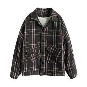Coats for Men Women Winter Loose Casual Vintage Plaid Wool Jacket Streetwear Hip Hop Plus Size Blends Short Overcoat Parkas