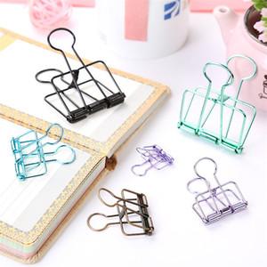 3 Tamaño Skeleton Binder Clips Metallic Hollow Out Notes Letra Papel Clip DIY Bookmark Office Supplies Soporte de clip Multicolor