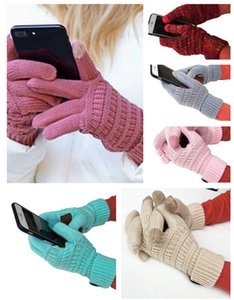 CC Knitting Touch Screen Winter Warm New Hot Europe and the United States adult wool knitting full finger gloves touch screen gloves