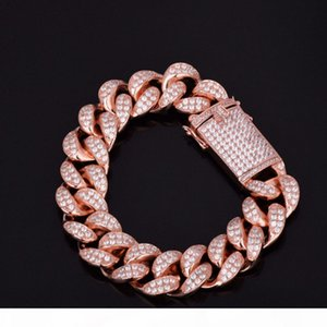 MENS ICED OUT ROSE GOLD FINISH MIAMI CUBAN LINK BRACELET 18MM WIDTH 8INCH LENGTH,115G