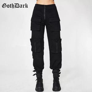 Goth escuro preto grunge pregado calças góticas para mulheres harajuku punk patchwork zipper bolsos outono 2021 moda feminina calças