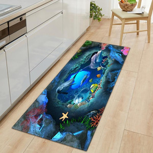 3D Bathroom Anti-slip Rug Ocean World Fish Carpet Kitchen Mat Entrance Doormat Bedroom Home Floor Decoration Living Room Carpet