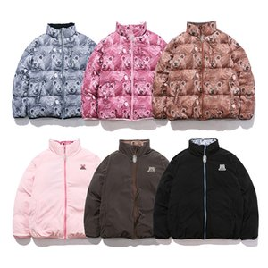 Doppelte tragen stand cartoon drucken down mantel männer und frauen dick casual windbreaker winterjacke streetwear oversize kleidung