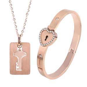 Pulseras Love Lock Key collar de dos piezas de collar de titanio pulsera de acero de los hombres y una mujer de enclavamiento del brazalete de regalo de vacaciones con el cuadro