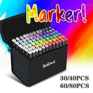 30 40 60 80pcs Dual Head Markers Brush Pens Alcohol Based Ink Marker Pen Art Supplies Drawing Tool for Manga Design1