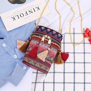 hombro mensajero personalizada tejido de moda bolsa de cubo de 2020 nueva súper Hombro Bucket bagpopular estilo étnico de las mujeres de la borla HfEqa