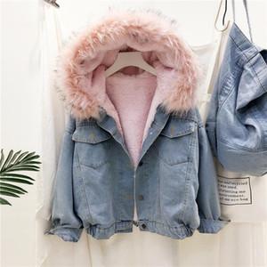 2020 new ladies lamb velvet padded jacket winter padded windbreaker jacket denim plus velvet designer loose hooded winter fashion jacket tid