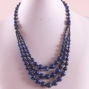 """Free Shipping New without tags Fashion Jewelry Natural Round Beads Blue LApis Necklace 22"""" 1Pcs RE069"""