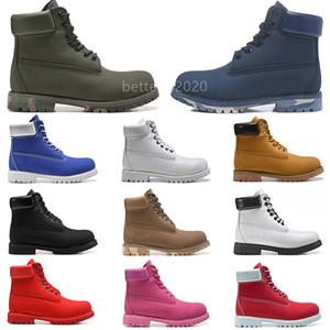 Классические мужчины сапоги дизайнер TBL мужская женская кожаная обувь лодыжки зимний ботинок для ковбоя желтый военный тройной белый черный камуфляж размер 36-45